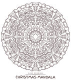 Vector mandala for coloring with christmas decorative elements. Royalty Free Stock Photos