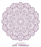 Vector mandala for coloring with valentines decorative elements. Stock Photography