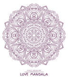 Vector mandala for coloring with valentines decorative elements. Royalty Free Stock Photos