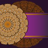 Vector mandala decor for your design with abstract ornament. Vector trinal business card. Oriental design Layout. Islam, Arabic, royalty free illustration