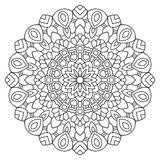 Vector mandala drawn with black lines. On a white background vector illustration