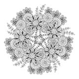 Vector mandala with flowers pattern. Adult coloring book page. Floral design for decoration. Royalty Free Stock Photos