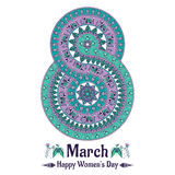 Vector mandala in the form of number for international women's day. 8 march background in the boho style. Round pattern with birds, elephants, flowers, leaves vector illustration