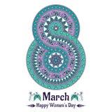 Vector Mandala in Form von Zahl für den Tag der internationalen Frauen Lizenzfreie Stockbilder