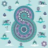 Vector Mandala in Form von Zahl für den Tag der internationalen Frauen Lizenzfreie Stockfotos