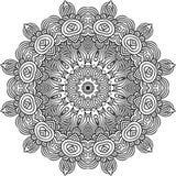 Mandala in black lines stock illustration