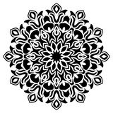 Black and white floral leaf line art Mandala Illustration. Star, vector. Vector Mandala Illustration. Round Ornament Pattern with star in center. background royalty free illustration