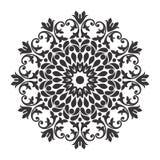 Black and white floral leaf line art Mandala Illustration royalty free stock photo
