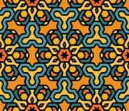 Vector Mandala Pattern hexagonal oriental floral redondeada colorida inconsútil Fotos de archivo libres de regalías