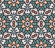 Vector Mandala Pattern hexagonal oriental floral redondeada colorida inconsútil stock de ilustración