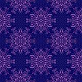 Vector Mandala Pattern inconsútil sobre azul marino Imagen de archivo