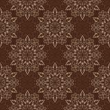 Vector Mandala Pattern inconsútil sobre marrón oscuro Foto de archivo libre de regalías