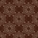 Vector Mandala Pattern inconsútil sobre marrón oscuro Imagen de archivo libre de regalías