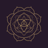 Vector mandala sacred geometry illustration. Vector gold monochrome design abstract mandala sacred geometry illustration triangle circles Merkaba lotus isolated Royalty Free Stock Photo