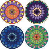 Vector mandala set. Set of mandala in two different shapes and four different variations of colour Royalty Free Stock Photography