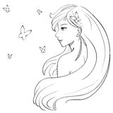 Vector manga sketch of long haired smiling girl and butterflies Stock Images