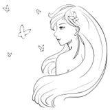 Vector manga Skizze des langhaarigen lächelnden Mädchens und der Schmetterlinge Stockbilder