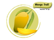 Vector Mango fruit isolated on color background,illustrator 10 eps Royalty Free Stock Photo