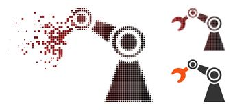 Dust Pixel Halftone Manipulator Icon. Vector manipulator icon in dispersed, dotted halftone and undamaged whole versions. Disintegration effect uses rectangle stock illustration