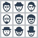 Vector mannelijke geplaatste gezichtenpictogrammen Royalty-vrije Stock Afbeelding