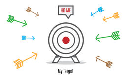 Vector : Many arrow rush to dart board, Business concept, Hit th Stock Photos