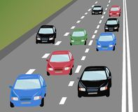 Vector many cars on road Stock Photos