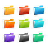 Vector many rainbow folders set on the white. Vector Green file folder icon set isolated on blue background Royalty Free Stock Photography