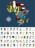 Vector map of Africa mixed with countries flags. Collection of all African maps combined with flags isolated on white background. Vector map of Africa mixed with Royalty Free Stock Photo