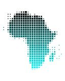 Vector map of Africa in squares. Vector map of Africa in a gradient of turquoise squares Stock Illustration