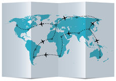vector map with airplane flight paths Royalty Free Stock Photos