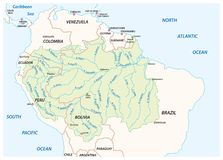 Vector map of the Amazon River drainage basin.  royalty free illustration