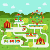 Vector map of amusement park with attractions. Family on vacation Royalty Free Stock Images