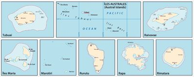 Vector map of the Austral Islands in the southern Pacific Ocean, French Polynesia, France.  royalty free illustration