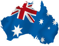 Vector map of Australia. Vector illustration of a map and flag from Australia