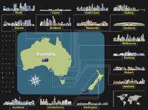 Vector map of Australia and New Zealand with largest city skylines. Stock Photos