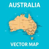 Vector map of Australia with states, cities, rivers and seas on separate layers. High detalization vector illustration