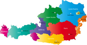 Vector map of Austria. Austria map designed in illustration with the regions colored in bright colors and with the main cities. Neighbouring countries  are in an Stock Images