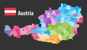 Vector map of Austria states and districts. Flag of austria, Each state have own color palette Stock Images