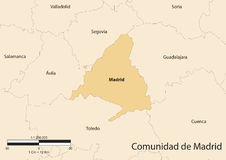 Comunidad de Madrid. Vector map of the autonomous community of Madrid. Spain Royalty Free Stock Photography