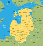 Vector map of Baltic. Vector color map of Baltic states Stock Photo