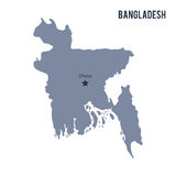 Vector map of Bangladesh isolated on white background. Royalty Free Stock Photos