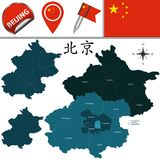 Map of Beijing with Districts Stock Images