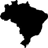 Vector map of brazil. Black Royalty Free Stock Photography