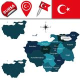 Map of Bursa, Turkey with Districts. Vector map of Bursa, Turkey with named districts and travel icons vector illustration
