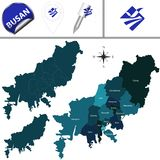 Map of Busan with Districts, South Korea. Vector map of Busan in South Korea with named districts and travel icons royalty free illustration