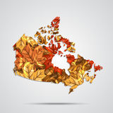 Vector map of the Canada with a background of autumn maple leaves. Vector Illustration. Royalty Free Stock Photos