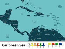 Map of Caribbean Sea. Vector map of Caribbean Sea with countries, big cities and icons Stock Photos