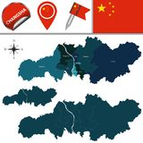 Map of Changsha with divisions. Vector map of Changsha with named divisions and travel icons Stock Image