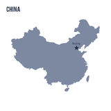 Vector map of China isolated on white background. Travel Vector Illustration stock illustration