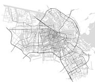City Map of Amsterdam, Netherlands. Vector map of the city of Amsterdam, Netherlands Royalty Free Stock Photography